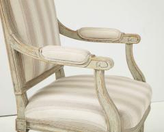 A Near Pair of Swedish Late Gustavian Style Painted Open Armchairs Circa 1870s - 2135272
