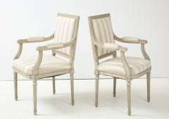 A Near Pair of Swedish Late Gustavian Style Painted Open Armchairs Circa 1870s - 2135274