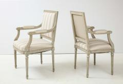 A Near Pair of Swedish Late Gustavian Style Painted Open Armchairs Circa 1870s - 2135275