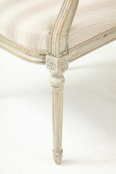 A Near Pair of Swedish Late Gustavian Style Painted Open Armchairs Circa 1870s - 2135276