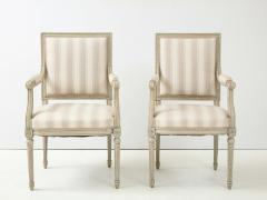 A Near Pair of Swedish Late Gustavian Style Painted Open Armchairs Circa 1870s - 2135279
