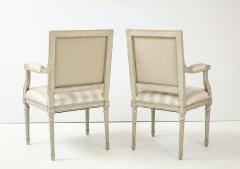A Near Pair of Swedish Late Gustavian Style Painted Open Armchairs Circa 1870s - 2135280