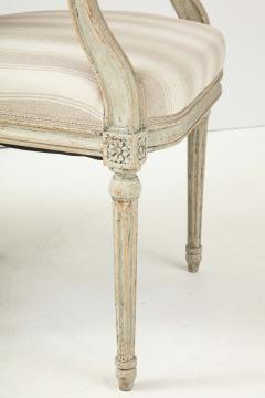 A Near Pair of Swedish Late Gustavian Style Painted Open Armchairs Circa 1870s - 2135281