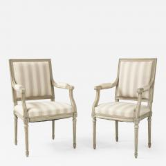 A Near Pair of Swedish Late Gustavian Style Painted Open Armchairs Circa 1870s - 2138950