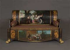 A Neoclassical Polychrome Painted Sofa Depicting Two Scenes From Homers Odyssey - 837917