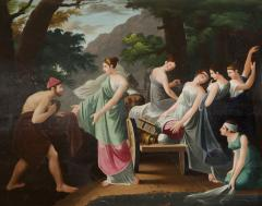 A Neoclassical Polychrome Painted Sofa Depicting Two Scenes From Homers Odyssey - 837919