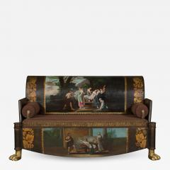 A Neoclassical Polychrome Painted Sofa Depicting Two Scenes From Homers Odyssey - 839162