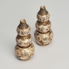 A PAIR OF JAPANESE MINIATURE TRIPLE GOURD SHAPED SATSUMA VASES - 1260093
