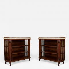 A Pair Bow Fronted Figured Mahogany Dwarf Open Display Shelves or Bookcases - 455408