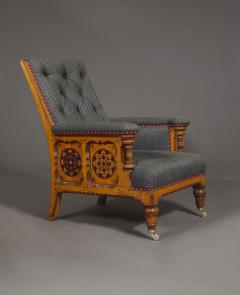 A Pair Of Ashwood And Inlaid Arts And Crafts Period Armchairs - 1447660