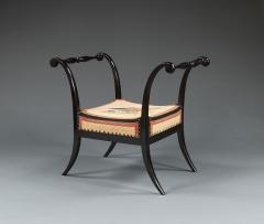 A Pair Of Ebonized Stools With Needlework Seats Depicting A Turkey And A Hawk - 923213
