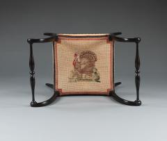A Pair Of Ebonized Stools With Needlework Seats Depicting A Turkey And A Hawk - 923219
