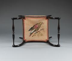 A Pair Of Ebonized Stools With Needlework Seats Depicting A Turkey And A Hawk - 923220