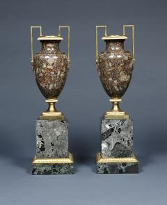 A Pair Of Gilt Bronze Mounted Specimen Porphyritic Granite Vase - 1427119