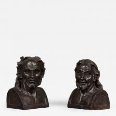 A Pair Of Glazed Terracotta Busts Depicting Two Greek Philosophers - 876437