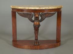 A Pair Of Mahogany Console Tables Bearing Fine Alabastro Fiorito Veneered Tops - 1352040