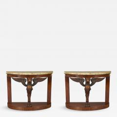 A Pair Of Mahogany Console Tables Bearing Fine Alabastro Fiorito Veneered Tops - 1352888
