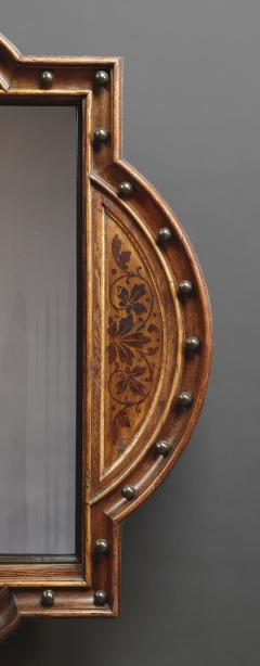 A Pair Of Neo Gothic Oak Walnut And Painted Mirrors Of Interesting Form - 1373317