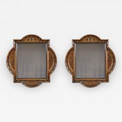 A Pair Of Neo Gothic Oak Walnut And Painted Mirrors Of Interesting Form - 1375221