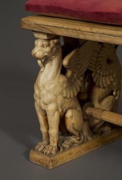 A Pair Of Neoclassical Oak Benches With Well Carved Monopodiae Supports - 1171171