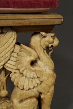 A Pair Of Neoclassical Oak Benches With Well Carved Monopodiae Supports - 1171173