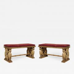 A Pair Of Neoclassical Oak Benches With Well Carved Monopodiae Supports - 1171751