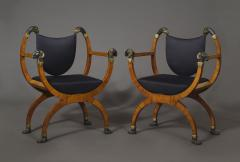 A Pair Of Neoclassical X Form Armchairs With Parcel Gilt And Bronzed Detailing - 1457368