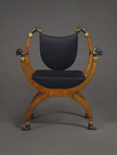 A Pair Of Neoclassical X Form Armchairs With Parcel Gilt And Bronzed Detailing - 1457369