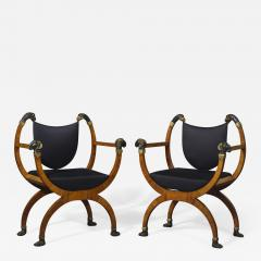 A Pair Of Neoclassical X Form Armchairs With Parcel Gilt And Bronzed Detailing - 1458506