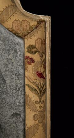 A Pair Of Queen Anne Revival Floral Fabric Covered Mirrors - 729635