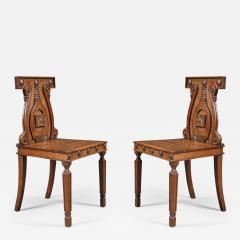 A Pair Regency Hall Chairs After A Design By Peter And Michael Angelo Nicholson - 511646