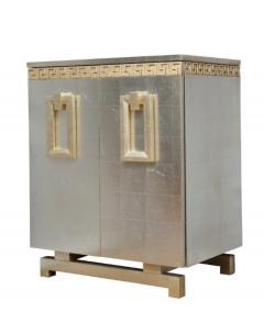 A Pair of Art Deco Two Door Silver Leafed Cabinets - 313110