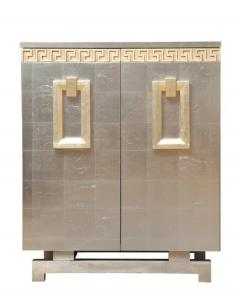A Pair of Art Deco Two Door Silver Leafed Cabinets - 313117