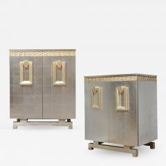A Pair of Art Deco Two Door Silver Leafed Cabinets - 313446