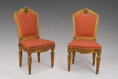 A Pair of Carved and Gilded Wood Roman Neoclassical Side Chairs - 118187