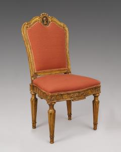 A Pair of Carved and Gilded Wood Roman Neoclassical Side Chairs - 118188