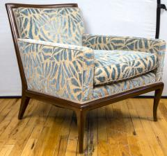 A Pair of Contemporary Upholstered Walnut Lounge Chairs - 431895