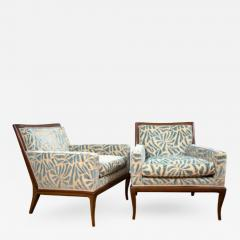 A Pair of Contemporary Upholstered Walnut Lounge Chairs - 432032