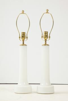 A Pair of Danish Milk Glass and Brass Mounted Table Lamps Circa 1940s - 1458298