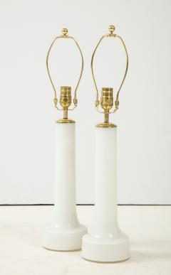 A Pair of Danish Milk Glass and Brass Mounted Table Lamps Circa 1940s - 1458299