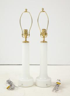 A Pair of Danish Milk Glass and Brass Mounted Table Lamps Circa 1940s - 1458300