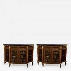 A Pair of Directoire Taste Cabinets Set With Chinese Black Lacquer Panels - 588778