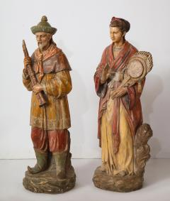 A Pair of English Regency Revival Polychrome Chinese Musicians - 2114742