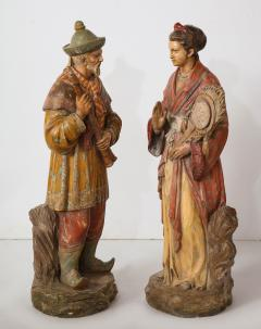 A Pair of English Regency Revival Polychrome Chinese Musicians - 2114746