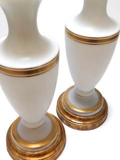 A Pair of French 1960s White Frosted Glass Lamps with Gilt Highlights - 1894362