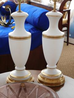 A Pair of French 1960s White Frosted Glass Lamps with Gilt Highlights - 1894363