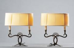 A Pair of French Art Deco Two Branch Table Lamps - 1842338