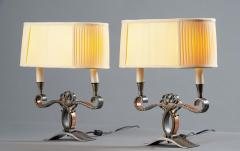 A Pair of French Art Deco Two Branch Table Lamps - 1842346