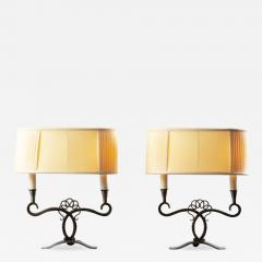 A Pair of French Art Deco Two Branch Table Lamps - 1842601
