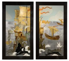 A Pair of French Gilt Painted and Lacquer Nautical Scene Panels - 1817928